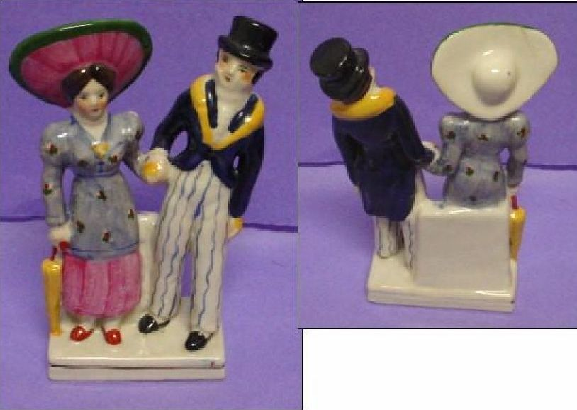 Staffordshire Figurine Standing Couple Holding Hands