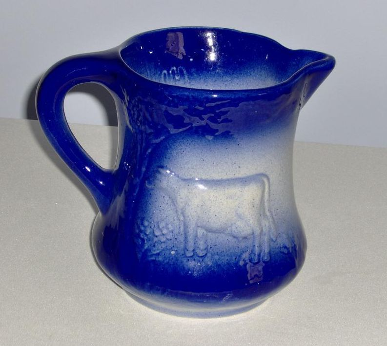 Blue and White Cow Design Milk Pitcher - 1890 England