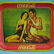 Coca Cola Advertising Metal Tray Johnny Weismuller & Maureen O'Sullivan