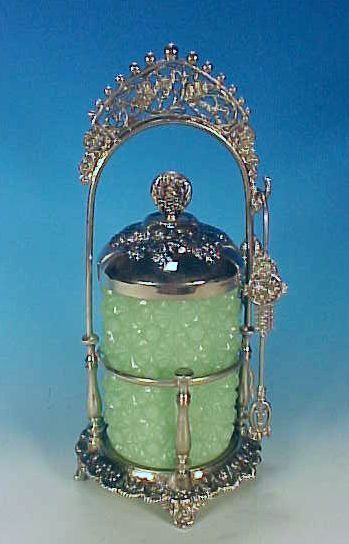 Grapes and Birds Silverplated Pickle Castor with Jade Green Daisy and Button Pattern Glass