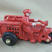 "Metal Toy ""Crash Car"" Motorcycle Three Wheel Cart"