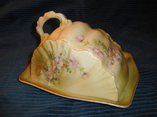Green and Floral Covered Cheese Dish or Butter Keeper Marked Nippon