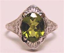Edwardian 14K White Gold Peridot Filigree Ring