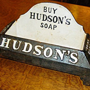 Cast Iron Hudson's Soap Advertising Dog Water Dish - Drink PUPPY Drink
