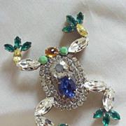 Czech Multicolor Rhinestone Frog Pin