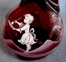 Cranberry Glass Mary Gregory Cruet