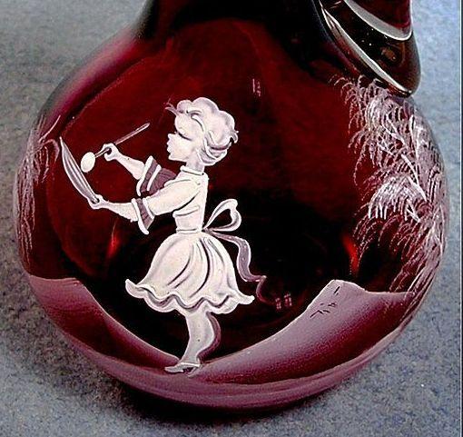 Cranberry Glass Mary Gregory Cruet