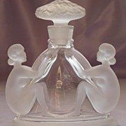 Art Deco Czech Crystal Perfume Bottle with Nudes