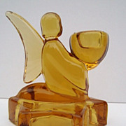 Amber Glass Angel Candle Holder