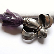 Taxco Sterling Hand Brooch or Pin with Carved Amethyst Tulip