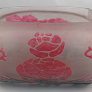 Pink and Green Rose glass possible planter with old sticker