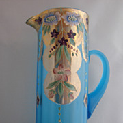 Vintage Hand Painted Purple Pink Blue Gold Aqua Blue Translucent Glass Pitcher Tankard