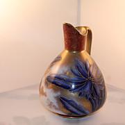 Dragon Head Handle Slip Decorated Floral Motif Ceramic Ewer