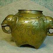 Brass 3 Elephant Head Bowl