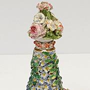 Fine Porcelain Flower Encrusted Scent Bottle German Porcelain