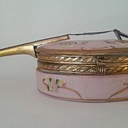 Porcelain Mandolin Shaped Trinket Box.