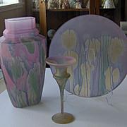 Colorful Glass vase, plate, candleholder
