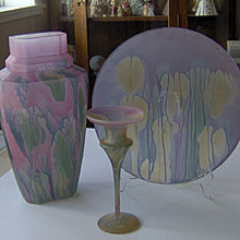 Colorful Glass vase, plate, candleholder