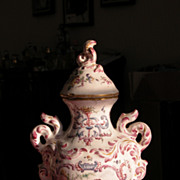 French Tea Caddy in Porcelain Soft Very Old Marked French Country