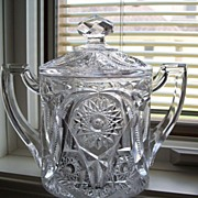 EAPG Early American Pressed Glass Biscuit Jar, Double Handled