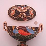 Charming Vintage Satsuma Lidded Bowl: Moriyama Mori-machi:  Made in Japan