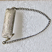 Vintage  Etched Silver Tie Bar with Chain