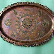 Large Decorative Vintage Copper Tray