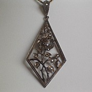 Sterling Marcasite Rose Pendant - signed.