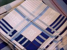 Pristine 72 X 52 Formal LINEN Table Set Blue Banded Tablecloth & 8 Napkins