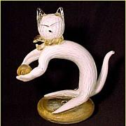 Venetian Murano Art Glass Cat Playing With Ball Sculpture Figurine