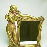 Art Nouveau Solid Cast Brass Figural Dresser Mirror
