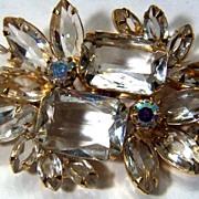 Vintage Stunning Clear and Aurora Borealis Rhinestone Pin Brooch ~ Possibly Juliana