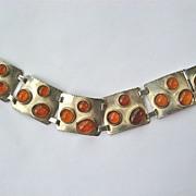 Beautiful Bold Amber Wide 835 Silver Panel Bracelet