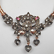 Exquisite Antique Silver Gold Diamond Ruby Foliate Necklace