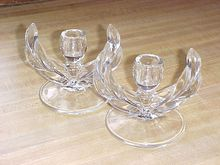 Elegant Blown Glass Laurel Candlesticks Candleholders