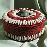 Cowry Shell & Red Beaded Box - Turquoise Inlay