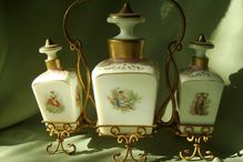 Antique  Scent Bottles in Gold Ormolu Wire Holder