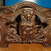 Brass Desk Top Owl Motif Letter Holder Signed ?