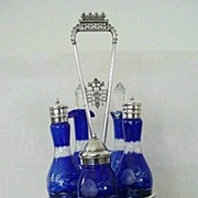 Victorian Silver Plate Cruet With Cobalt Cut-to-clear Glass Bottles