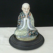 Signed Porcelain Buddha Palms Together With Base