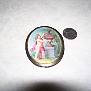 Victorian hand painted double sided signed pictures, beveled glass