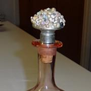 Vintage  Pink Etched Depression Glass Decanter