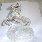 Crystal Glass Rearing Horse on Frosted Base