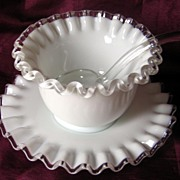 Fenton Silver Crest Mayo Mayonnaise Bowl Under-plate and Spoon 3 Piece Set #7203