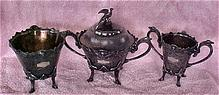 Egyptian Revival Meriden Black Silver Spooner, Master Sugar, Waste Pot