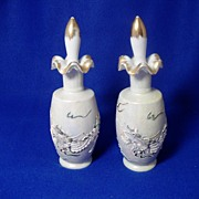 Two Opalescent Perfume Bottles with Stoppers