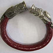 Sterling Silver Capped Leather Bangle Bracelet ~ Dolpins