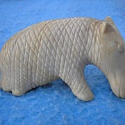 Hand carved IVORY Elephant and OTHER animal.  Handmade scrimshaw bone or tusk.