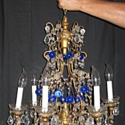Vintage antique blue and clear crystal glass bead lamp, light fixture or chandelier.   ??????