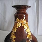 Brown with gold leaf decoration pot, jar or vase??   #  248